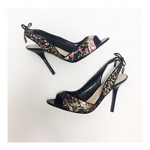 Guess Floral Open Toe Slingback Heels